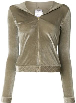 Chanel Pre Owned Velvet Zipped Hoodie