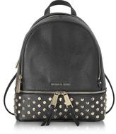 Michael Kors Rhea Zip Black Leather Medium Backpack w/Studs
