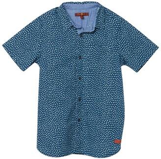 7 For All Mankind Short Sleeve Dot Print Cuffed Shirt