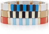Roxanne Assoulin Set-Of-Three Stadium Gold-Tone And Enamel Bracelets