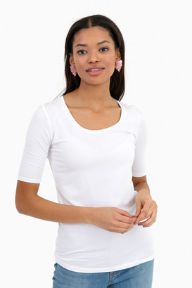 White + Warren White Kayla Scoopneck T-Shirt