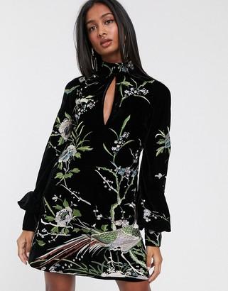 Asos Design DESIGN embroidered velvet shift mini dress with key hole detail-Black