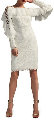 Tadashi Shoji Ruffled Lace-Up Embroidered Dress