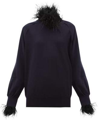 Toga Feather-trim Wool-blend Sweater - Womens - Navy