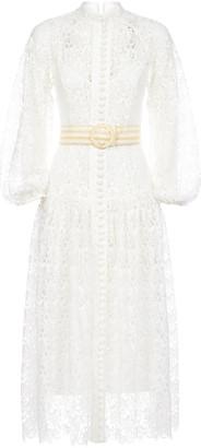 Zimmermann Empire Broderie Lace Midi Dress