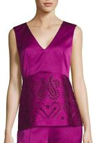 Etro Laser-Cut Eyelet V-Neck Blouse