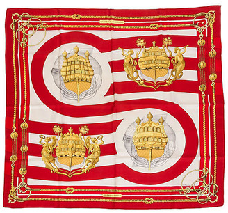 One Kings Lane Vintage Hermes Chateaux d'Arriere Ship Scarf - Vintage Lux - red/gold/white