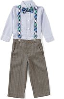Class Club Little Boys 2T-7 Button-Down Shirt, Flat-Front Pants, Plaid Bow Tie & Suspenders Set