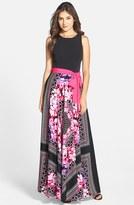 Eliza J Petite Women's Scarf Print Jersey & Crepe De Chine Maxi Dress