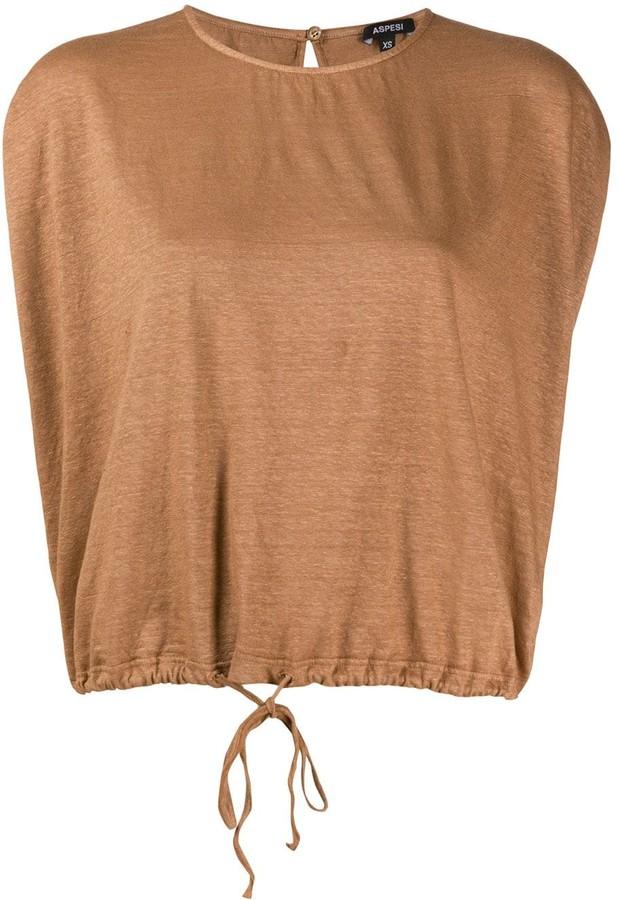 Aspesi Short-Sleeved Drawstring-Hem Top