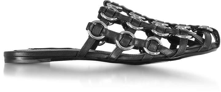 Alexander Wang Amelia Black Leather Cage Mules w/Metal Rings