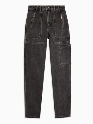 Topshop Utility Mom Jeans - Washed Black