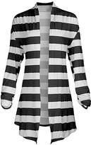 Lily Women's Open Cardigans BLK - White & Black Stripe Pointed-Hem Open Cardigan - Women & Plus