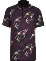 River Island Mens Big and Tall dark red bird short sleeve shirt