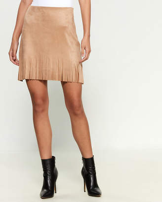 Necessary Objects Faux Suede Fringe Skirt