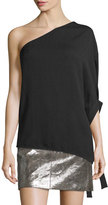 Halston One-Sleeve Flowy Asymmetric Top