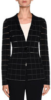 Giorgio Armani Sheer-Cutout One-Button Blazer, Navy