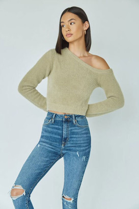 Forever 21 Fuzzy Knit One-Shoulder Sweater