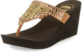 Premium Collection by Yellow Box Elayna Embellished Wedge Sandal, Tan
