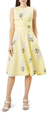Hobbs London Twitchill Tie-Waist Pineapple Print Dress