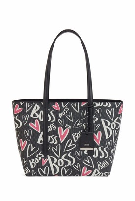 HUGO BOSS Womens Taylor Shopp Z SM JT Monogram shopper bag with heart motifs and logo artwork