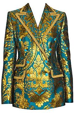 Dolce & Gabbana Women's Jacquard Metallic Double-Breasted Structure Jacket