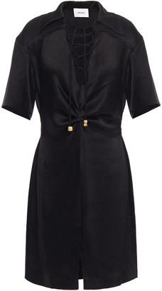 Nanushka Etta Lace-up Crinkled Washed-satin Shirt Dress
