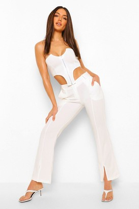 boohoo Split Front Tailored Skinny Trousers