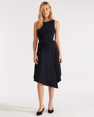 Veronica Beard Angelica Handkerchief-Hem Midi Dress