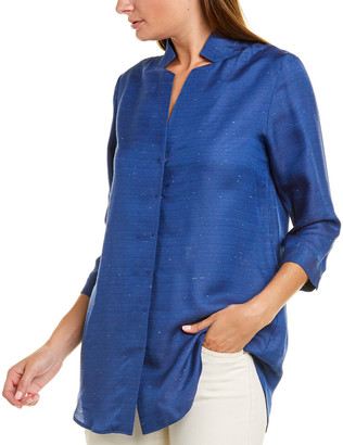 Leggiadro Inverted Notch Collar Silk-Blend Shirt
