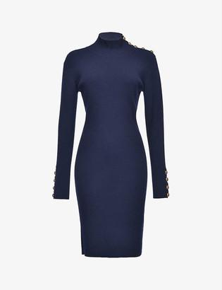 Pinko Cuba button-embellished wool-blend dress