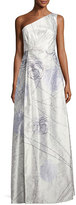 Kay Unger New York Floral-Print One-Shoulder Gown, Light Green
