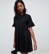 Asos Tall DESIGN Tall cotton slubby frill sleeve smock dress