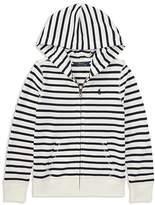 Ralph Lauren Girls' Striped French Terry Zip-Up Hoodie - Big Kid