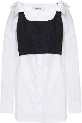 Chalayan Tie-back Layered Jacquard And Cotton-poplin Blouse