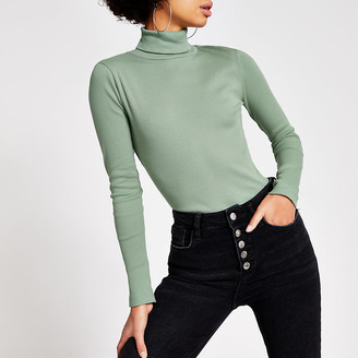 River Island Light green long sleeve roll neck ribbed top