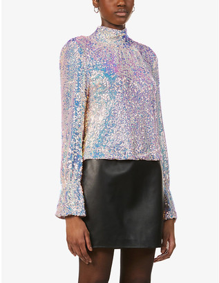 Free People Sequin-embellished woven top