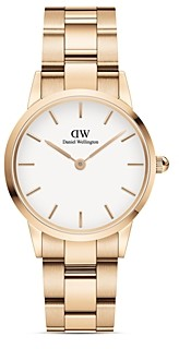 Daniel Wellington White Dial Rose Gold-Tone or Silver-Tone Link Bracelet Watch, 28mm-32mm