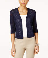 JM Collection Petite Cropped Crochet Cardigan, Only at Macy's