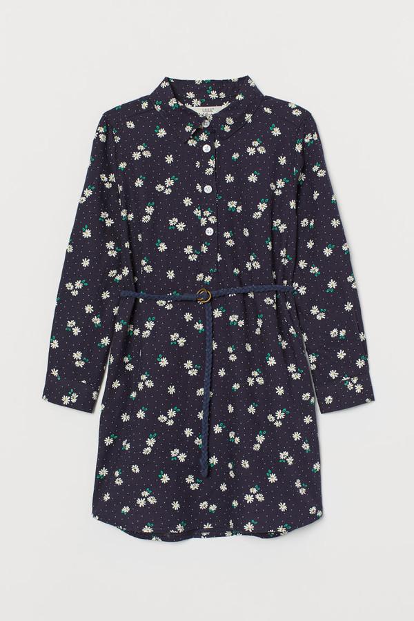 H&M Cotton Shirt Dress - Blue