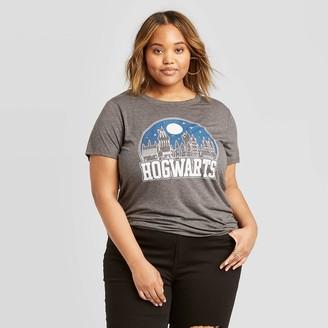 Women's Harry Potter Hogwarts Plus Size Short Sleeve Graphic T-Shirt (Juniors') - Charcoal Heather