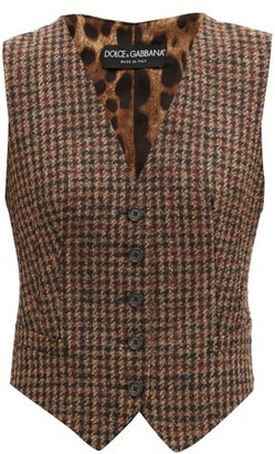 Dolce & Gabbana Houndstooth-check And Leopard-print Waistcoat - Brown Multi