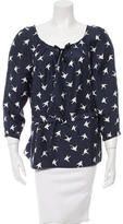 Nina Ricci Silk Bird Print Blouse