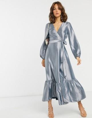 ASOS DESIGN wrap midi dress in metallic taffeta