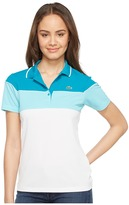 Lacoste Short Sleeve Color Block Waffle Stitch Polo Women's Clothing