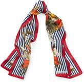 Ralph Lauren Floral & Striped Silk Scarf