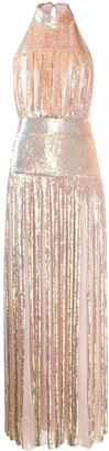 Temperley London Halter Neck Sequin Maxi Dress