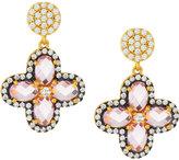 Freida Rothman Pink CZ Crystal Clover Drop Earrings