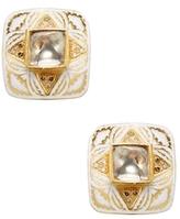 Artisan 22K Yellow Gold & 1.21 Total Ct. Rosecut Diamond Enamel Stud Earrings
