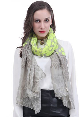 Lina & Lily Leopard Animal Print Women's Large Scarf Lightweight (Neon Yellow)
